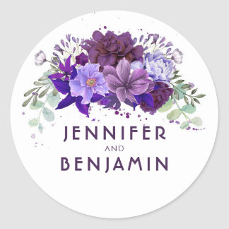 Plum Purple and Lavender Floral Wedding Classic Round Sticker