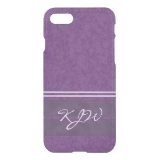 Plum Purple and Lavender Stripes Monogram iPhone 7 Case