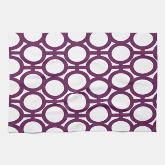 Plum Purple And White Eyelets Kitchen Towel