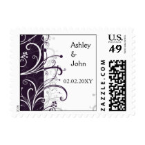 Plum Purple and White Simple Wedding Design Postage