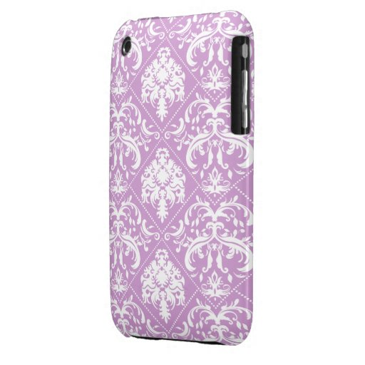 Plum Purple and white vintage damask iPhone 3 Case