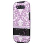 Plum Purple and white vintage damask w/ monogram Samsung Galaxy S3 Cover