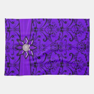 Plum Purple & Black Baroque Ribbon & Star Kitchen Towels