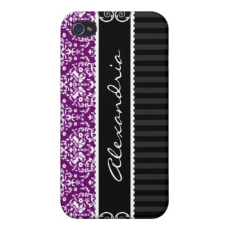 Plum Purple Black Customized Damask iPhone 4 Case