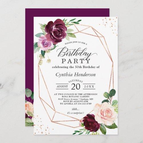 Plum Purple Blush Floral Modern Birthday Party Invitation