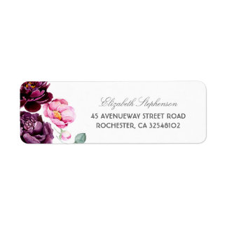 Plum Purple Burgundy and Blush Floral Wedding Label