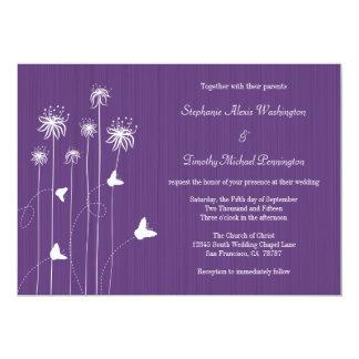 Plum purple butterfly floral wedding invitation