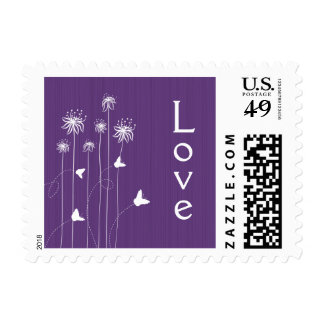 Plum purple butterfly floral wedding love stamps