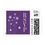 Plum purple butterfly floral wedding RSVP stamps