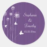 Plum purple butterfly floral wedding stickers