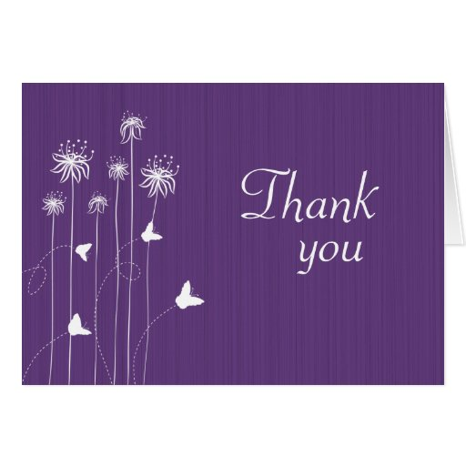 Plum Purple Butterfly Floral Wedding Thank You Card Zazzle