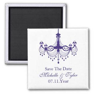 Plum Purple Chandelier Save The Date Magnet