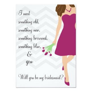 "Plum Purple Chevron Will You Be My Bridesmaid 4.5"" X 6.25"" Invitation Card"
