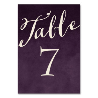 Plum Purple Chic Calligraphy Table Numbers Table Cards