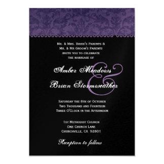 Plum Purple Damask and Lace Wedding Card