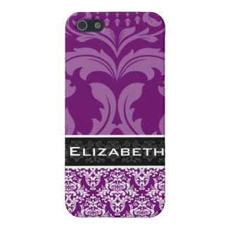 Plum Purple Damask iPhone 4 Case With Your Name