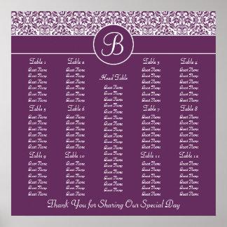 Plum Purple Damask Wedding Reception Seating Chart Print