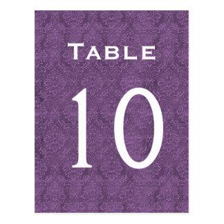 Plum Purple Damask Wedding Table Number 10 C209 Postcard
