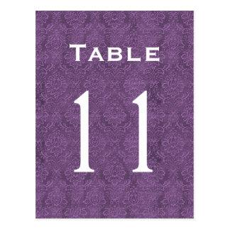 Plum Purple Damask Wedding Table Number 11 C210 Postcard
