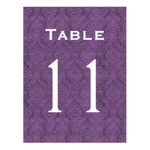 Plum Purple Damask Wedding Table Number 11 C210 Post Cards