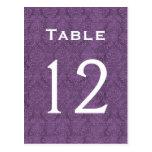 Plum Purple Damask Wedding Table Number 12 C211 Post Card