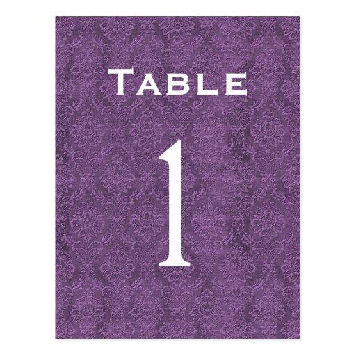 Plum Purple Damask Wedding Table Number 1 C200 Post Card