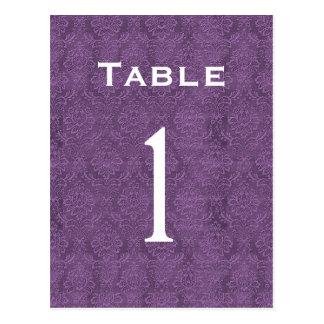 Plum Purple Damask Wedding Table Number 1 C200 Postcard