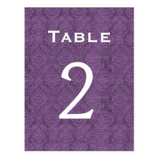 Plum Purple Damask Wedding Table Number 2 C201 Postcard