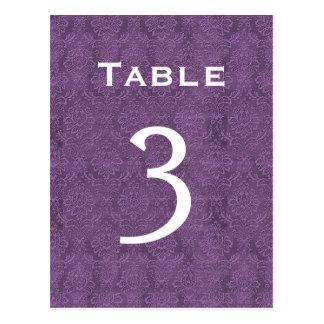 Plum Purple Damask Wedding Table Number 3 C202 Postcard