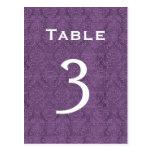 Plum Purple Damask Wedding Table Number 3 C202 Postcards