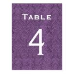 Plum Purple Damask Wedding Table Number 4 C203 Post Card