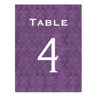 Plum Purple Damask Wedding Table Number 4 C203 Postcard