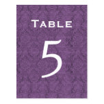 Plum Purple Damask Wedding Table Number 5 C204 Post Cards
