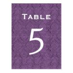 Plum Purple Damask Wedding Table Number 5 C204 Post Card