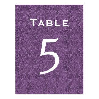 Plum Purple Damask Wedding Table Number 5 C204 Postcard
