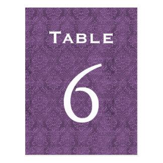 Plum Purple Damask Wedding Table Number 6 C205 Postcard