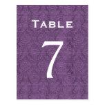 Plum Purple Damask Wedding Table Number 7 C206 Post Card
