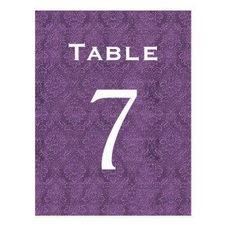 Plum Purple Damask Wedding Table Number 7 C206 Postcard