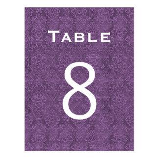 Plum Purple Damask Wedding Table Number 8 C207 Post Cards