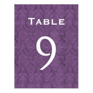 Plum Purple Damask Wedding Table Number 9 C208 Postcard