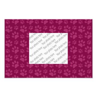Plum purple dog paw print pattern photo print