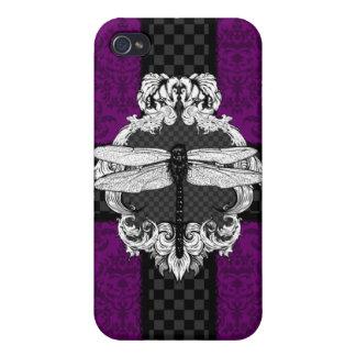 Plum Purple Dragonfly Damask iPhone 4 Case