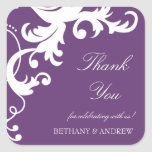Plum Purple Elegant Damask Thank You Stickers