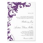Plum Purple Elegant Damask Wedding Invitation