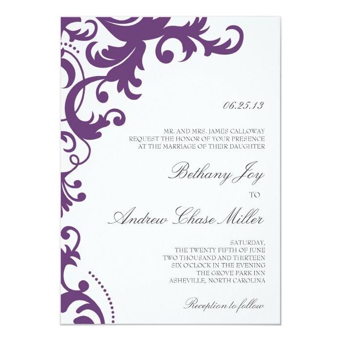 Elegant Purple Wedding Invitations: Plum Purple Elegant Damask Wedding Invitation