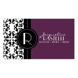 Plum Purple Estate Damask Mommy Calling Card / Business Cards