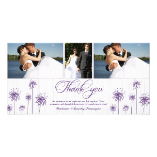 Plum purple floral 3 photo wedding thank you card