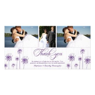 Plum purple floral 3 photo wedding thank you card photo card