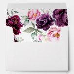 Plum Purple Floral Bohemian Watercolors Wedding Envelope at Zazzle