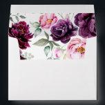 """Plum Purple Floral Bohemian Watercolors Wedding Envelope<br><div class=""""desc"""">Plum purple,  burgundy and blush watercolor flowers wedding invitation envelopes</div>"""